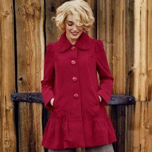 Anthropologie Women Swing Coat Red Grable Size 0